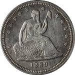 1839 Seated Liberty Quarter No Drapery Choice XF+ Details Strong Strike