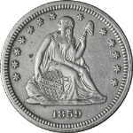 1859-P Seated Liberty Quarter - Cleaned