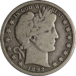 1892-S Barber Half Dollar Choice VG+ Superb Eye Appeal Nice Strike