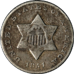 1851-O Three (3) Cent Nickel