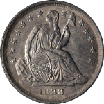 1838-P Seated Liberty Half Dime No Drapery Small Stars Nice BU Nice Eye Appeal