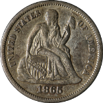 1865-S Seated Liberty Dime Nice XF Key Date Nice Eye Appeal Nice Strike