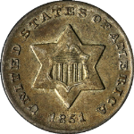 1851 Three (3) Cent Nickel