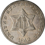 1852 Three (3) Cent Nickel