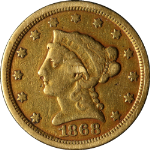1868-S Liberty Gold $2.50 F/VF Details Decent Eye Appeal