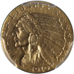 1910 Indian Gold $2.50 PCGS AU58 Great Eye Appeal Fantastic Luster Nice Strike