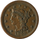 1852 Large Cent N-6 R.2
