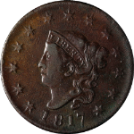 1817 Large Cent 13 Stars Nice XF Details N.11 R.1 Nice Strike Nice Color
