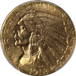 1912 Indian Gold $5 PCGS MS62 Great Eye Appeal Fantastic Luster Nice Strike