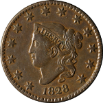 1828 Large Cent Large Narrow Date Choice XF/AU N.6 R.2 Superb Eye Appeal