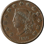 1830 Large Cent Choice XF/AU N.2 R.2+ Superb Eye Appeal Strong Strike