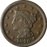 1846 Large Cent Repunched Date Small Date N-4 R.1