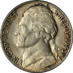 1943-P Jefferson Nickel - Doubled Eye