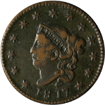 1817 Large Cent 13 Stars Nice XF N.9 R.2 Nice Eye Appeal Nice Strike