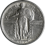 1917-P Type 1 Standing Liberty Quarter Nice AU Bright White