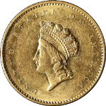 1855-P Type 2 Indian Princess Gold $1 Nice Unc Details Great Eye Appeal