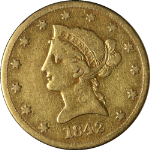 1842-O Liberty Gold $10 No Motto Nice F Decent Eye Appeal Nice Strike