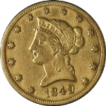 1849-P Liberty Gold $10 F/VF Details Nice Eye Appeal Nice Strike