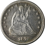 1873-P Seated Liberty Quarter Open 3 Nice XF Nice Eye Appeal Nice Strike