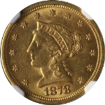 1878-S Liberty Gold $2.50 NGC MS61 Great Eye Appeal Fantastic Luster Nice Strike