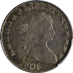 1806 Bust Half Dollar Pointed 6 No Stem PCGS AU Details 0-109 R.1 Nice Strike