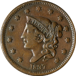 1837 Large Cent N.11 R.1 Beaded Hair Cords