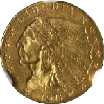 1911-P Indian Gold $2.50 NGC MS62 Nice Eye Appeal Nice Luster Nice Strike
