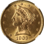 1903-S Liberty Gold $5 NGC MS64+ Superb Eye Appeal Strong Strike