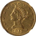 1853 Liberty Gold $10 No Motto NGC XF45 Nice Eye Appeal Nice Strike