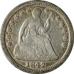 1842-O Seated Liberty Half Dime Nice F Nice Eye Appeal Tough To Find