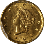 1853-P Type 1 Liberty Gold $1 PCGS MS64 Superb Eye Appeal Fantastic Luster