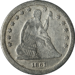 1861-S Seated Liberty Quarter Civil War Date VG/F Details Key Date Nice Strike