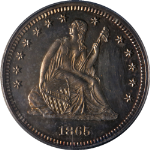 1865 Seated Liberty Quarter Proof Civil War Date PCGS PR63 Nice Eye Appeal
