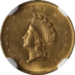 1855-P Type 2 Indian Princess Gold $1 NGC Unc Details Nice Eye Appeal