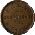 H.J. Bang Restaurant New York NY (1861-65) Store Card NGC MS63BN Nice Strike