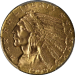 1909-D Indian Gold $5 PCGS MS64 Great Eye Appeal Nice Luster Nice Strike
