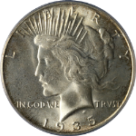 1935-S Peace Dollar PCGS MS65 Superb Eye Appeal Fantastic Luster Strong Strike