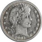 1901-O Barber Quarter Nice XF Details Bright White Nice Eye Appeal