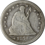 1874-S Seated Liberty Quarter