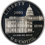 2001-P Capitol Visitor Silver Commemorative $1 PCGS PR68 DCAM - Blue Label