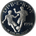 1994-S World Cup Silver Commemorative $1 PCGS PR68 DCAM - Blue Label
