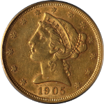 1905-S Liberty Gold $5 PCGS AU50 Decent Eye Appeal Nice Strike
