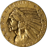 1913-S Indian Gold $5 Choice AU Nice Eye Appeal Nice Strike Tough To Find