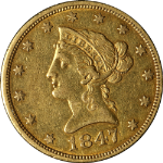 1847-P Liberty Gold $10 No Motto Choice XF+ Great Eye Appeal Nice Strike