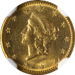 1849-P Type 1 Liberty Gold $1 Open Wreath NGC MS62 Great Eye Appeal