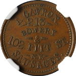 A. Gavron, Sausages New York NY (1861-65) Store Card NGC AU58BN Nice Strike