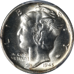 1945-S Mercury Dime Micro S PCGS MS66 Superb Eye Appeal Fantastic Luster