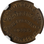G.C. Porter & Co. Meadville PA (1861-65) Store Card NGC AU58BN Great Eye Appeal