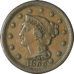 1855 Large Cent - Early Die State - Knob on Ear