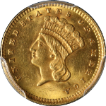 1873 Type 3 Indian Princess Gold $1 Open 3 PCGS MS64 Nice Eye Appeal